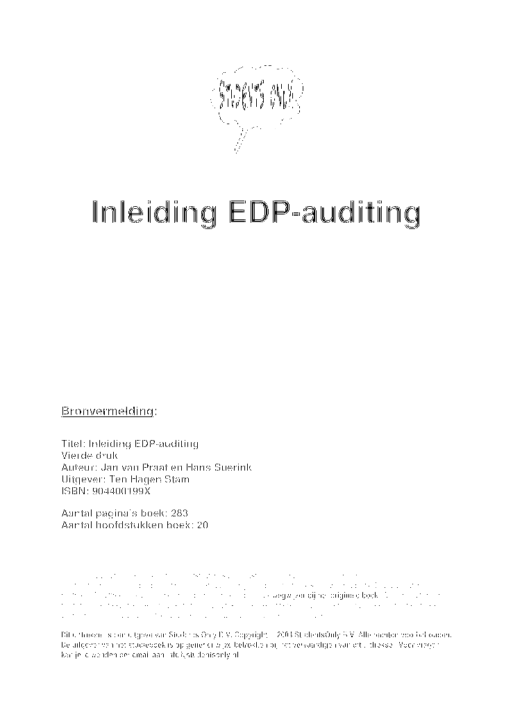 edp auditing Information technology audit general principles introductory as computer technology has advanced, government organisations have become increasingly dependent on computerised information systems to carry out their operations and to process.